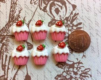 SET of 6 Pink and White Sweet Cupcakes with a Strawberry on Top cabochons Cupcake Flatbacks DIY crafts