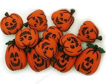 SET of 10 Detailed Halloween Pumpkin Shank/Hoop Sewing Buttons