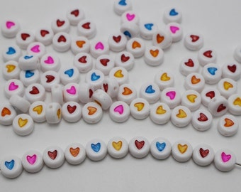 SET of 50 Bright and Colorful Heart Coin Acrylic Beads