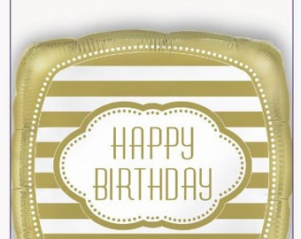 Golden Happy Birthday Mylar Balloon/ 1 CT Gold Happy Birthday Balloon/ Gold Birthday Party/ Gold Striped Balloon/ Gold Party Supplies