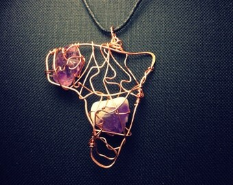 Amethyst  and Copper Africa/Amexem Charm