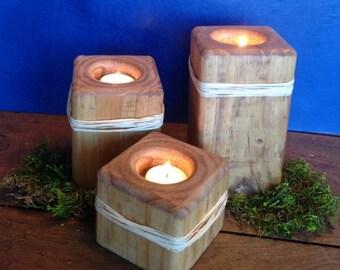 Wood Candle Holders/ Set of 3, Handmade wood votive holder/Tea light holder/ Home decor