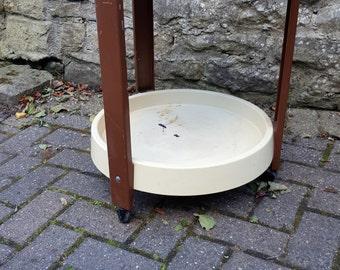 REDUCED  Mid Century Modern Plastic Round Bar Tea Cart Side Table Joe Colombo Style