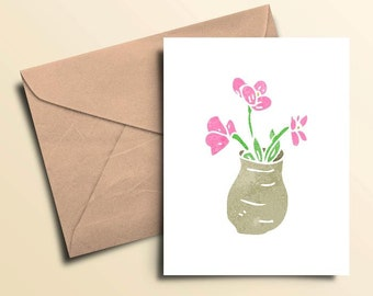 Pink Flowers In Vase Note Cards – Boxed Set of 10 With Envelopes