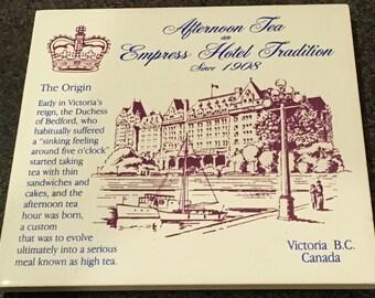 "Afternoon High Tea at Empress Hotel Victoria BC Ceramic Tile Wall Hanging Trivet Harbour Canada Travel Souvenir Memorabilia Keepsake 6 """