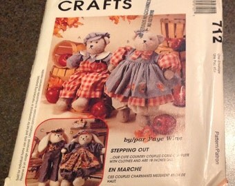 McCall's Crafts 723 / 7979 Stepping Out Sewing Pattern Country Couple Bears And Bunnys Clothes Jumpsuit Dress Apron Bloomers Faye Wine