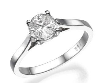 Princess Cut Diamond Engagement Ring, 18K White Gold Ring, Unique Engagement Ring, 0.55 CT Diamond Ring, Art Deco Ring