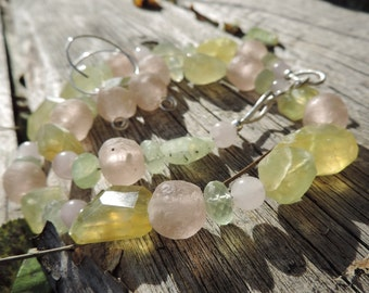 Rose and Prehnite Necklace with Earrings