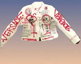 one of a kind handpainted graffiti punk jacket  made to order each one will be different but similar style
