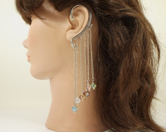 Multi color Faceted Crystal Chain Ear Cuff with Bead Caps Non Pierced Single Earring Retro Boho