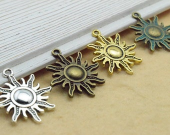 20PCS-Sun Charms - Sun Charm with Beautiful Detail Sun Pendants/Charms  25x28mm- you choose the color