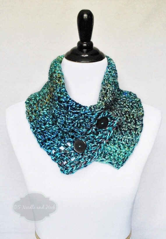 SALE! Blue,Green Button Cowl, Asymmetrical Neck Warmer, Multi-Colored Wrap Scarf - Crochet
