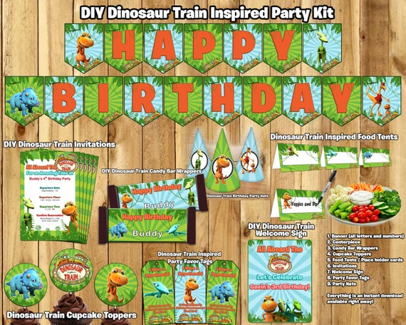 DIY Dinosaur Train Birthday Party Kit Download Banner Invite Cupcake Toppers Favor Tags Hats Centerpiece Dinosaur Train Birthday Party Pack