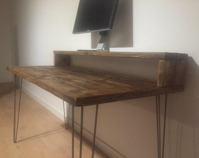 antique desk stenciled desk distressed desk rustic desk gray