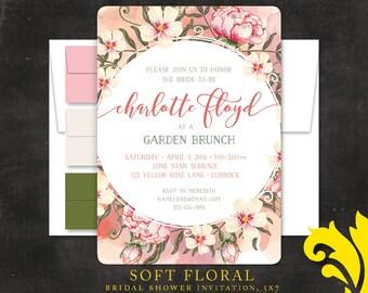 SOFT FLORAL . bridal shower or brunch invitation