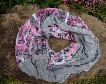 Pink and Grey Infinity Scarf from re-purposed T-shirt: womans ruffled up-cycled scarf