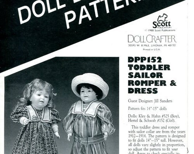 "FREE US SHIPPoissot Doll Dress Pattern dpp152 1988 Toddler Sailor Romper Dress 14"" 15"" Insert From Dollcrafter Vintage Magazine"