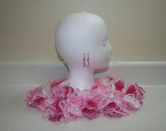 Pink & White Lacy Ruffle Scarf+ Swarovski Earrings