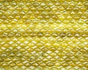 15 1/2 IN 6x9 mm Natural Korean Jade Faceted Rice Shaped Gemstone Beads (KRJVTF0609)