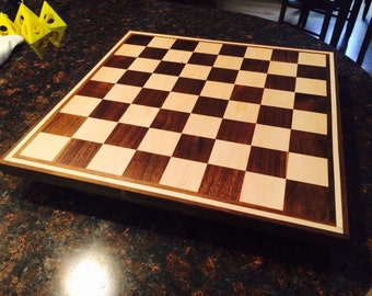 Solid Maple and Walnut Chess Checkers board with detailed edge