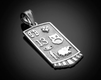 Silver Lucky Charm Necklace .925 Sterling Silver Good Luck Symbols Talisman Pendant