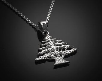 Sterling Silver Lebanon Cedar Tree Charm Necklace