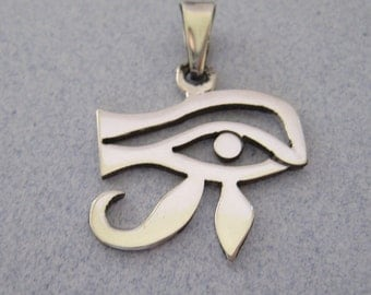Evil Eye Egyptian Eye of God Horus RA Shiny Amulet Good Luck Lucky Shiny Polished 925 Sterling Silver from Taxco Mexico Pendant