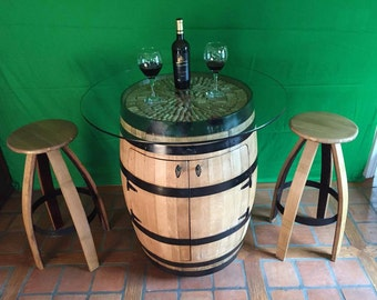 Wine Barrel Bistro Table Cabinet