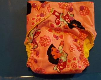 SALE!!!!! medium dora the explorer pocket cloth diaper