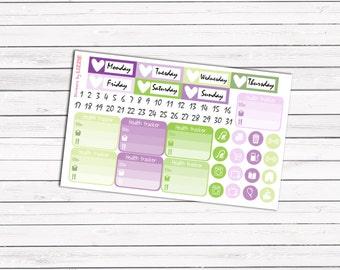 Purple Dreamy Garden add-on stickers || Erin Condren planner vertical layout