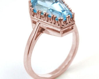 Coffin Ring Limited Edition Swiss Blue Topaz 6.5ct Stunning Stone