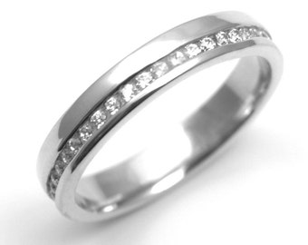 Offset Channel Set Round Brilliant Diamond Wedding Ring Fully UK Hallmarked (WD144)
