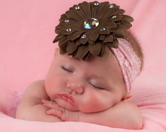 Daisy bling flower clip and pink lace headband