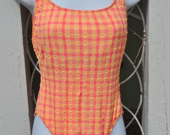 Back to School Sale!**** Vintage 1970s Pink and Orange One Piece Bathing Suit