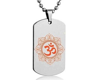 Om Symbol Color Dog tag Necklace Pendant Stainless Steel Chain w/Giftpouch and Keyring om symbol