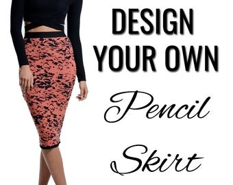 Custom Printed Design Your Own Midi Pencil Skirt by Legs247.com