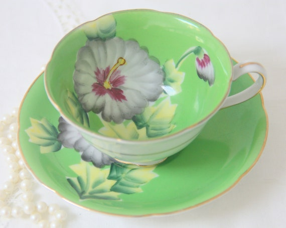 Antique Paragon Style Porcelain Teacup and Saucer, Green with Hand Painted Flower Decor