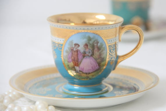 Hard to Find Vintage Porcelain Demitasse Cup and Saucer , Blue with Courting Couple Decor, JKW Carlsbad, Beehive Shield Mark