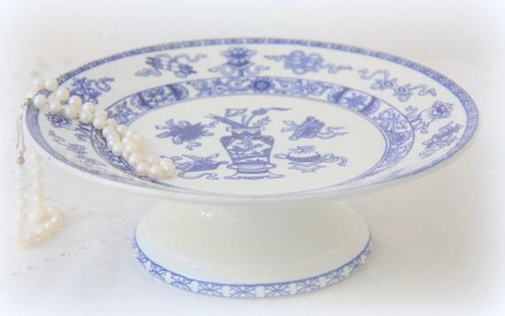 Vintage Société Ceramique Maestricht 'Potiche' Cake Pedestal, Made in Holland, Blue Pots and Flower Decor