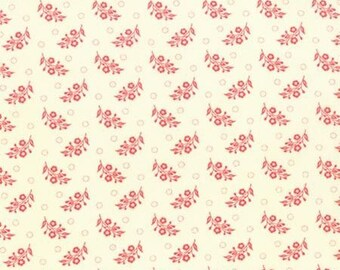 Strawberry Fields by Fig Tree Quilts - Vintage Flowers Red on white background by the Half Yard