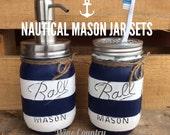 Painted Mason Jar. Bathroom Decor. Home Decor. Nautical Bathroom Decor. Bathroom Set. Rustic Decor. Shabby Chic. Wedding/House Warming Gift.
