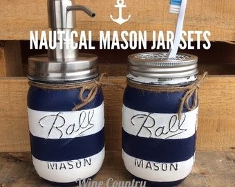 Painted Mason Jar. Bathroom Decor. Home Decor. Nautical Bathroom Decor. Bathroom Set. Rustic Decor. Shabby Chic. Wedding/House Warming Gift.