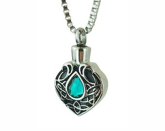 Celtic Turquoise Crystal Urn Pendant Necklace - Memorial Ash Keepsake - Cremation Jewellery - Personalised Engraving!