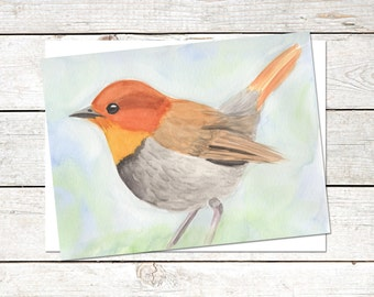 Robin Note Cards, 6 x 4.5, Original Art, Watercolor Painting, Bird Cards, Blank Note Cards, Nature Cards, Japanese Robin Painting