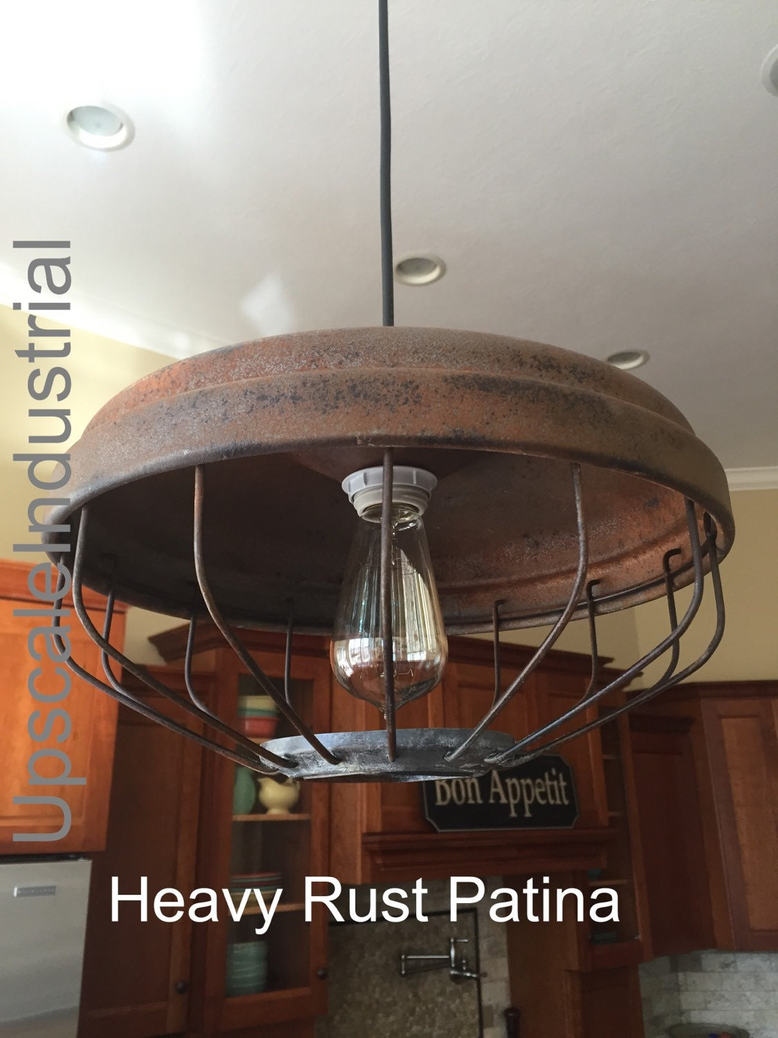 Vintage Pendant Light Rustic Chicken Feeder Kitchen
