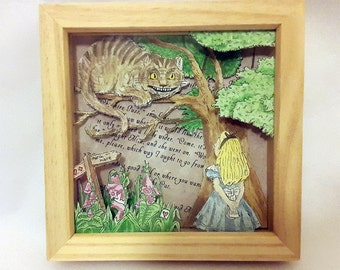"Alice's Adventures In Wonderland ""Alice Meets The Cheshire Cat"" Hand-Drawn Watercolour 3D Box Frame"