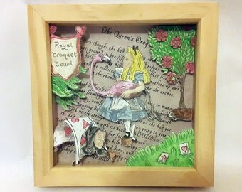 "Alice's Adventures In Wonderland ""The Queen's Croquet-Ground"" Hand-Drawn Watercolour 3D Box Frame"