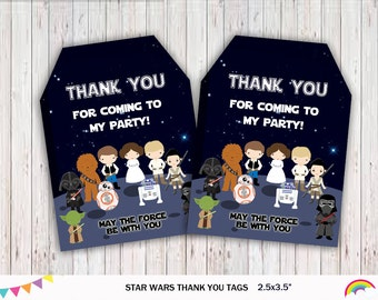 Star Wars Thank You Tags, Favor Tags, Party Tags, Gift Tags, Party Supplies, Superhero Party, Printable file, Favor tags,  Instant Download