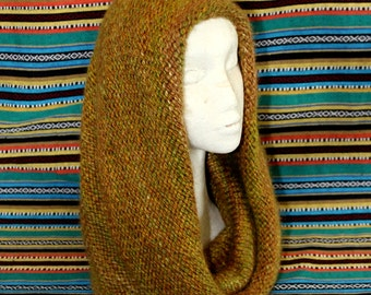 COWL HOOD, scood, tube scarf, scoody, hooded scarf, knitted, GnarlyKnits, LAST one, gift for her, hippy