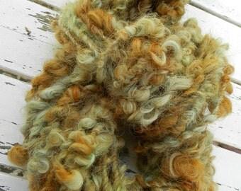 MISTY GREEN  art yarn / textured locks / hand spun / hand dyed / green copper / weaving felting knitting / decoration / wool / bulky